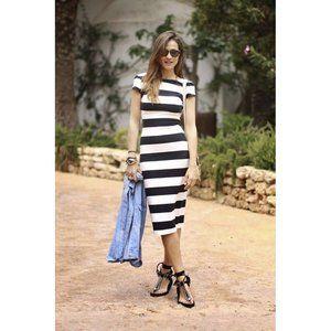 Zara | Striped midi bodycon dress